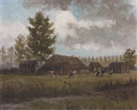 landscape, cows around a farm by henk rijkers