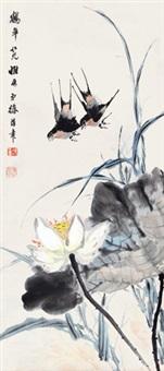 花鸟 屏轴 设色纸本 by xu hanzhang