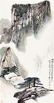 黄山松云 立轴 设色纸本 by he haixia