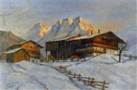 abenstimmung in verschneiter berglandschaft by alexander posch