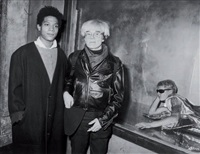 jean-michel basquiat et andy warhol, area night club, new york, gifts for the city of new york benefit for the brooklyn academy of music's second annual next wave festival, 7 novembre by ron galella