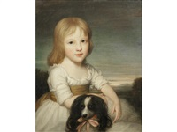 portrait of jane sarah susannah westcott (1790-1834) aged three, in a white dress seated in a landscape with her pet spaniel by john opie
