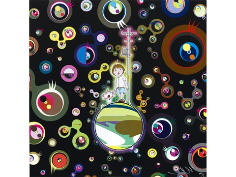 and then x6 red (+ jellyfish eyes; 2 works) by takashi murakami