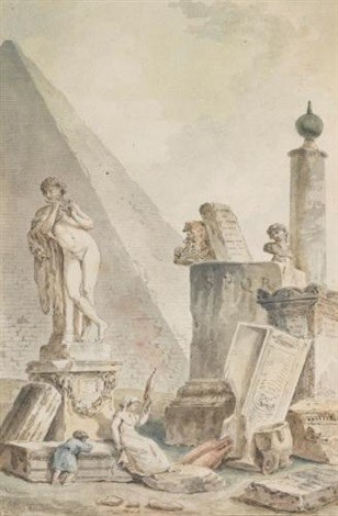 la fileuse capriccio with a woman spinning by the pyramid of cestius amid other roman sculptures and remains by hubert robert
