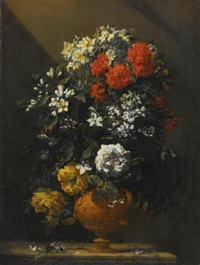 still life of flowers in a bronze vase by jean-michel picart