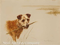 terrier fetching a stick by maud earl