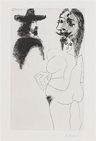 beau gentilhomme espagnol et femme à barbe ou femme coiffée dun barbu pl263 from 347 gravures 16368 510 68 by pablo picasso