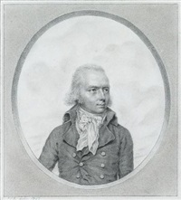 mr. booty, ship's bursar, wearing jacket, waistcoat and tied cravat, his hair powdered, stone surround by john smart the younger