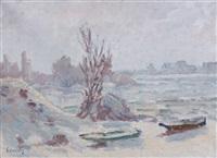 la rivière enneigée by abel louis alphonse lauvray