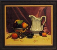 still life with fruit and pitcher by herbert e. abrams