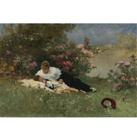 at rest among the flowers by ferdinand heilbuth