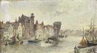 hafenstadt im norden mit segel- und dampfschiffen by heinrich hiller