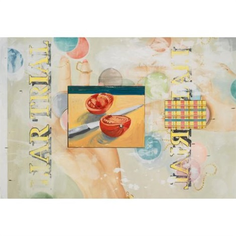 tomato with plaid on 2 joined canvases by david salle