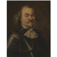 portrait of a gentleman, head and shoulders, wearing armour, possibly admiral de ruyter by pieter jacob horemans