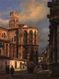 the entrance of the church of san rocco, venice by luigi querena