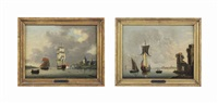 a flagship firing a salute and an admiralty yacht anchored near a port with classical ruins (pair) by francis swaine
