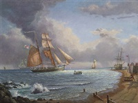the schooner pickle off falmouth, bringing news of the victory at trafalgar and the death of nelson: november 4th by s. francis smitheman