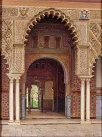 el patio de un palacio moro, sevilla (the courtyard of a moorish palace, seville) by f. liger hidalgo