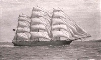 sailing ship 'george' off coast near amble by h. rutley
