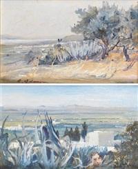 la marsa vue de sidi bou saïd (+ la plaine de carthage vue de sidi bou saïd; 2 works) by baron rodolphe d' erlanger