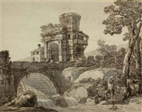 a landscape with a bridge and classical ruins in the distance, a family fishing by a stream in the foreground by antonio zucchi