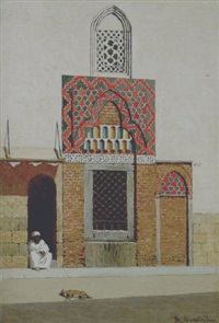 arabo seduto davanti alla moschea by roberto guastalla