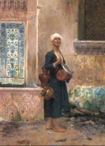 arab in a courtyard by albert emile artigue