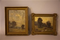 two landscape paintings by arthur parton