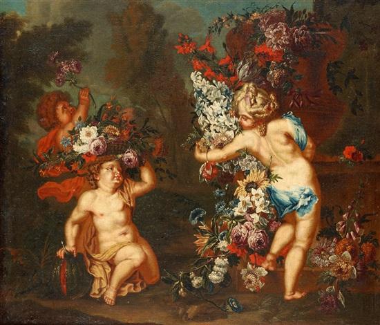 lekande barn med blomster by jan pauwel gillemans the younger