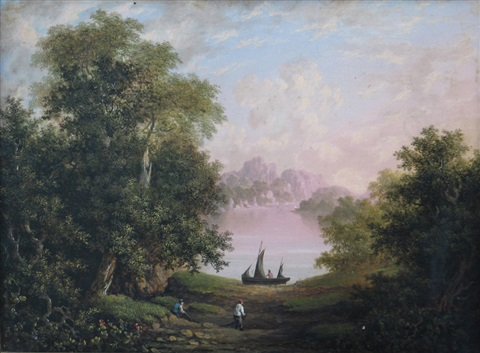 fishermen sorting nets in a wooded glade another pair by charlotte nasmyth