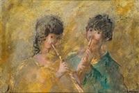 niños tocando la flauta by francisco arias alvarez