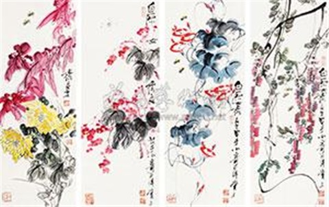 花卉 in 4 parts by qi liangzhi