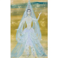 costume design for beverly sills as queen shemakha in rimsky-korsakov's le coq d'or, new york city opera by jose varona