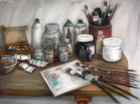 still life and paintbrushes by haim senior