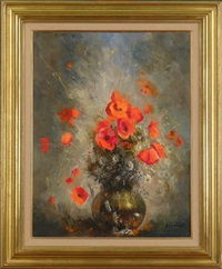 vase de fleurs by louis auguste victor henno