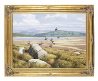 a covey of grouse alighting by rodger mcphail