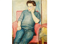 a portrait study of a young man resting in an armchair by alan lowndes