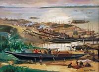 scène de port à onitscha, nigéria by jeannette and maurice fiévet