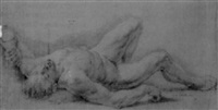 a male nude lying on the ground by domenico corvi