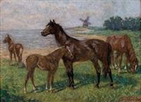 pferde in einer küstenlandschaft mit windmühle by fritz von heider