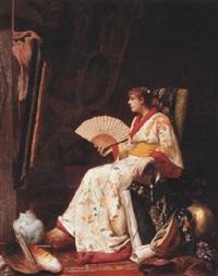 le modèle en kimono dans l'atelier du peintre by alphonse marx