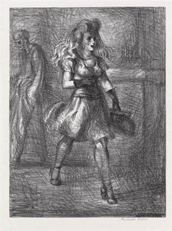 girl walking (elevated) by reginald marsh