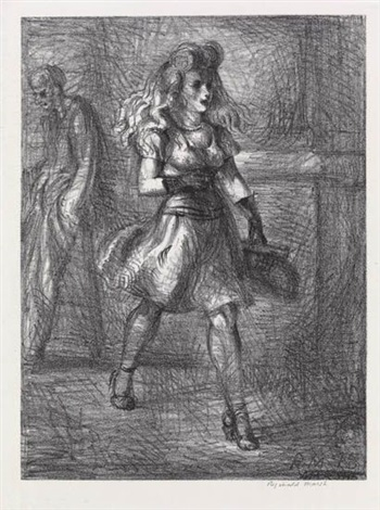 girl walking elevated by reginald marsh