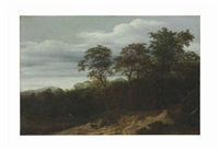 a wooded landscape with shephards on the path by cornelis hendriksz vroom