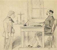 konvolut von zeichnungen (5 works incl. 1 in pencil, various sizes) by mikolas ales