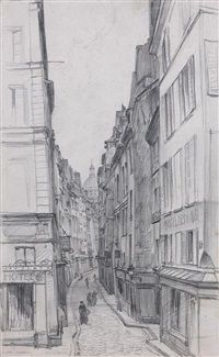vue animée de la rue de bièvre (+ 5 others; 6 works) by frank lewis emanuel