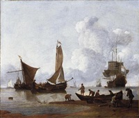 fishermen unloading their catch on the shore, moored fishing boats and dutch men-o-war at anchor beyond by wigerus vitringa