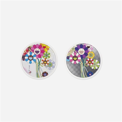 purple flowers in a bouquet and even the digital realm has flowers to offer! (2 works) by takashi murakami