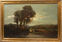 paysage à l'étang animé de lavandières by françois edouard bournichon