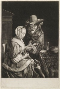 dutch interior showing a young man courting a young woman (after frans van mieris) by john greenwood
